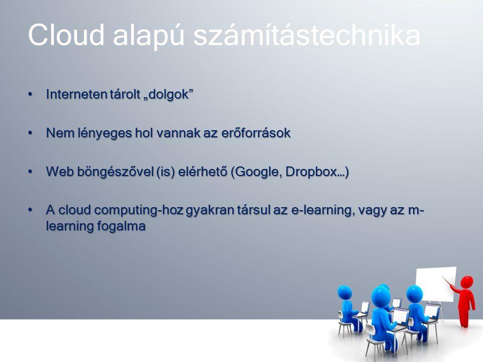 """Cloud alapú számítástechnika Interneten tárolt """"dolgok Interneten tárolt """"dolgok Nem lényeges hol vannak az erőforrásokNem lényeges hol vannak az erőforrások Web böngészővel (is) elérhető (Google, Dropbox…)Web böngészővel (is) elérhető (Google, Dropbox…) A cloud computing-hoz gyakran társul az e-learning, vagy az m- learning fogalmaA cloud computing-hoz gyakran társul az e-learning, vagy az m- learning fogalma"""
