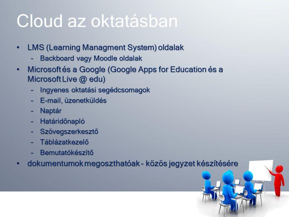 Cloud az oktatásban LMS (Learning Managment System) oldalakLMS (Learning Managment System) oldalak –Backboard vagy Moodle oldalak Microsoft és a Google (Google Apps for Education és a Microsoft Live @ edu)Microsoft és a Google (Google Apps for Education és a Microsoft Live @ edu) –Ingyenes oktatási segédcsomagok –E-mail, üzenetküldés –Naptár –Határidőnapló –Szövegszerkesztő –Táblázatkezelő –Bemutatókészítő dokumentumok megoszthatóak - közös jegyzet készítéséredokumentumok megoszthatóak - közös jegyzet készítésére