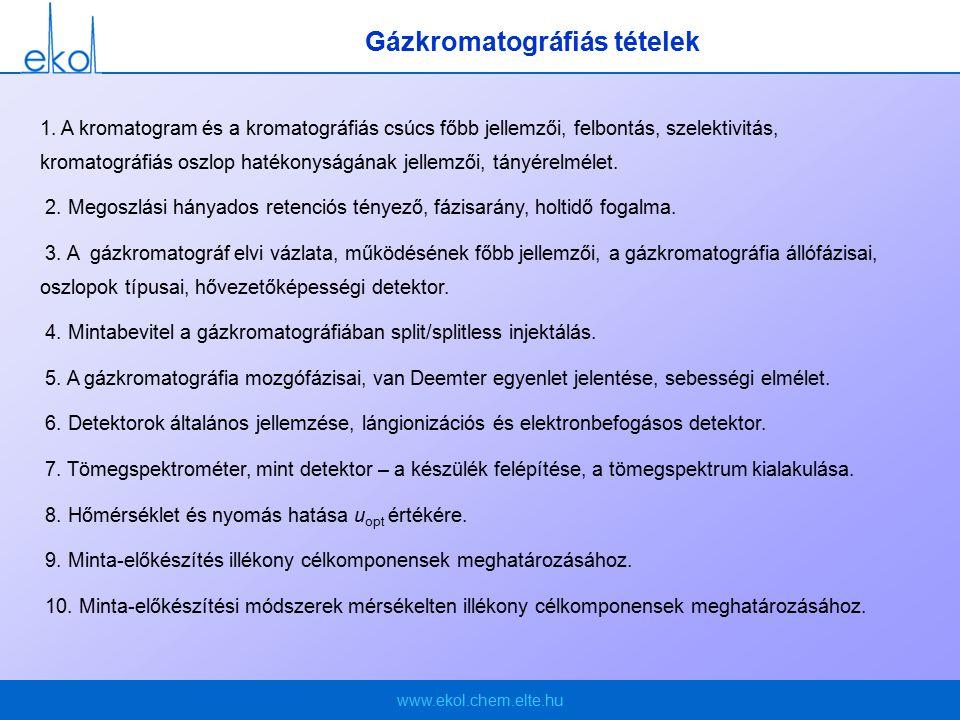 www.ekol.chem.elte.hu Gázkromatográfiás tételek 1.