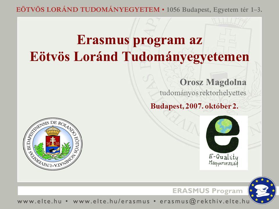 Erasmus program az Eötvös Loránd Tudományegyetemen Orosz Magdolna tudományos rektorhelyettes Budapest, 2007.