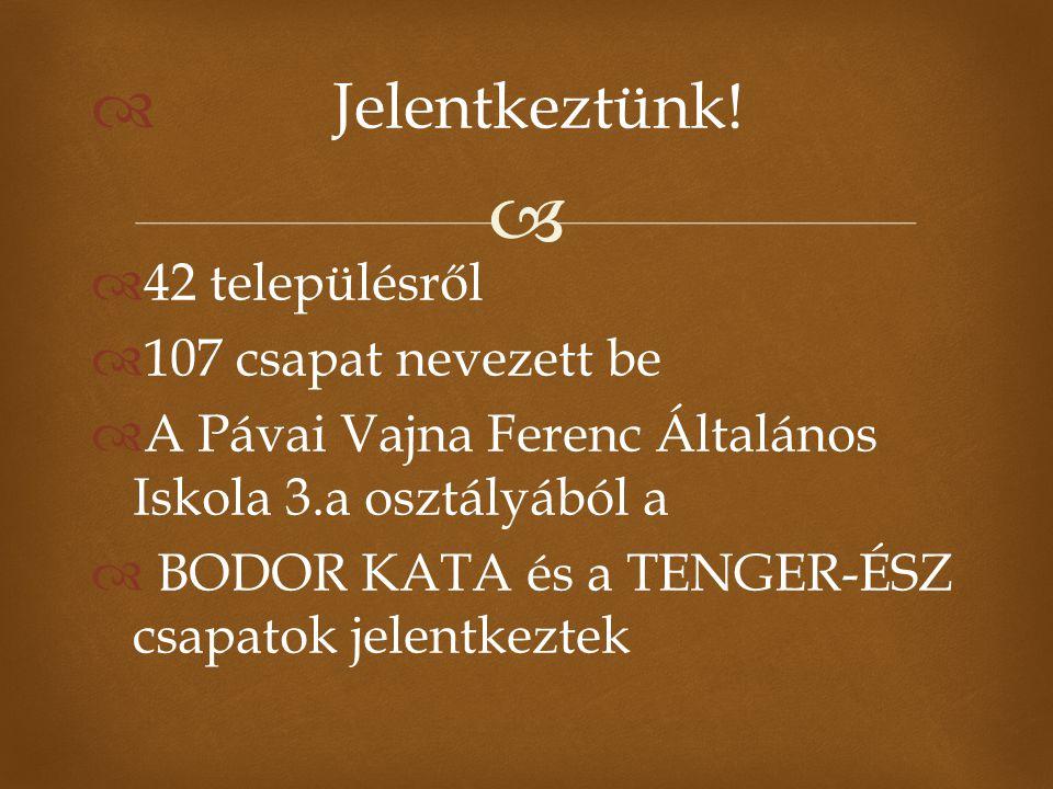   Jelentkeztünk!  42 településről  107 csapat nevezett be  A Pávai Vajna Ferenc Általános Iskola 3.a osztályából a  BODOR KATA és a TENGER-ÉSZ c