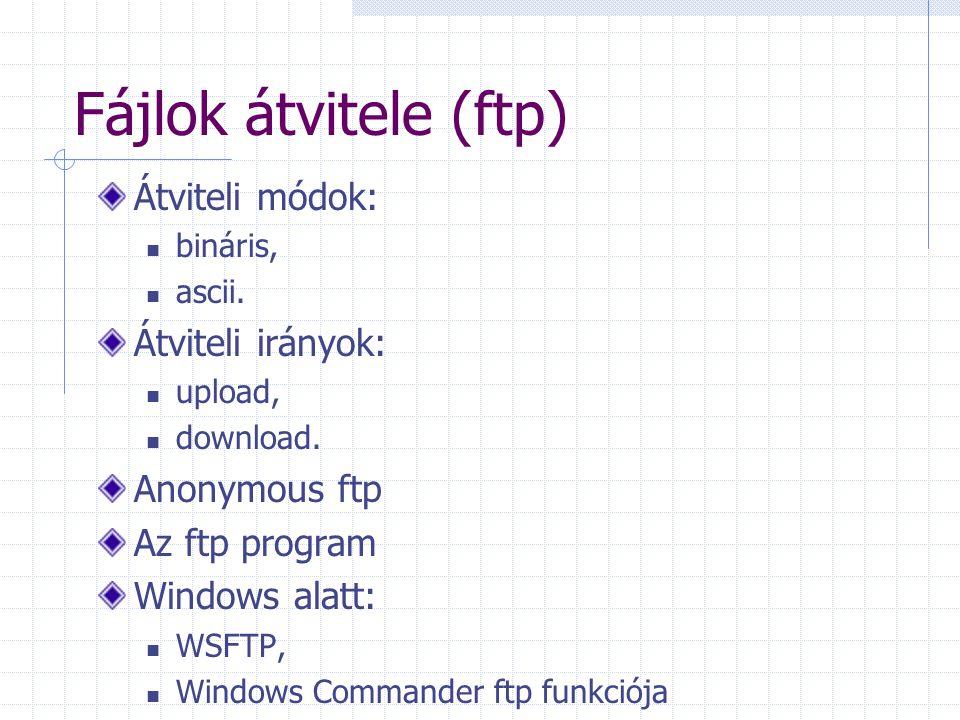 Fájlok átvitele (ftp) Átviteli módok: bináris, ascii. Átviteli irányok: upload, download. Anonymous ftp Az ftp program Windows alatt: WSFTP, Windows C
