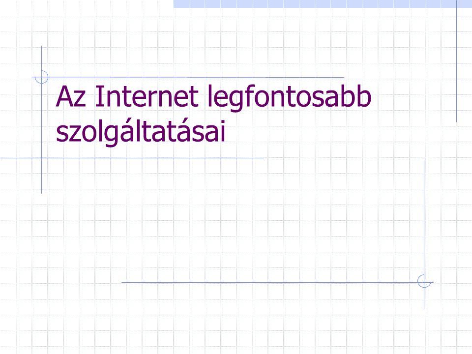 Word Wide Web (WWW) Világméretű adatbank egyetlen nagy hypertext jellegű dokumentáció (sőt hypermédia) Kapcsolómezők (linkek) egységes adatkezelő rendszer HTTP protokoll gondoskodik a kezelésről (Hyper Text Transfer Protokol) egysége: web-lap (web-page)