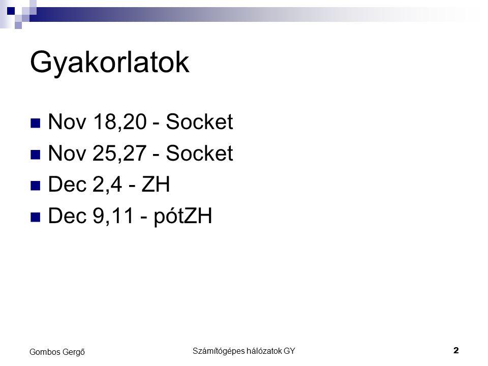 Gyakorlatok Nov 18,20 - Socket Nov 25,27 - Socket Dec 2,4 - ZH Dec 9,11 - pótZH Számítógépes hálózatok GY2 Gombos Gergő