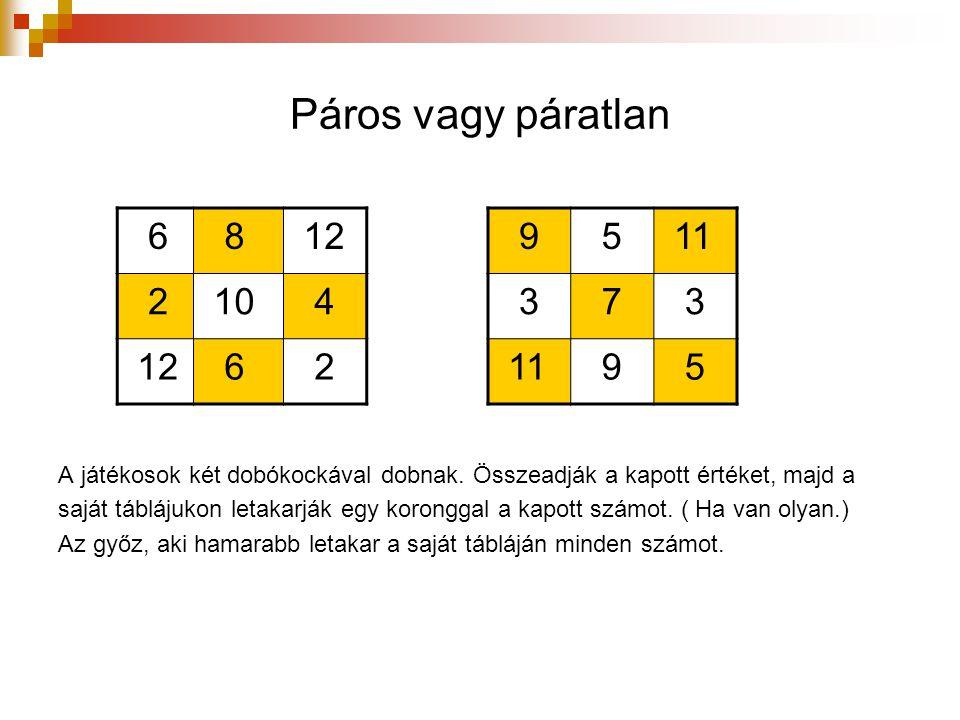 Páros vagy páratlan 6 8 12 2 10 4 12 6 2 9 5 11 3 7 3 9 5 A játékosok két dobókockával dobnak. Összeadják a kapott értéket, majd a saját táblájukon le