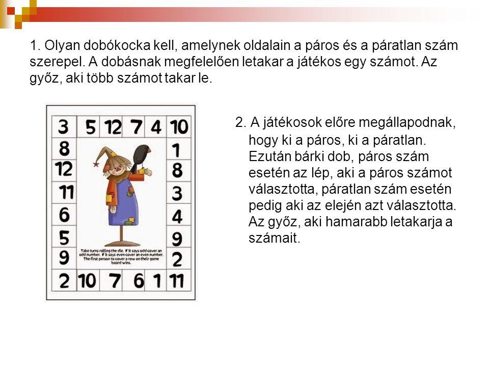 1. Olyan dobókocka kell, amelynek oldalain a páros és a páratlan szám szerepel. A dobásnak megfelelően letakar a játékos egy számot. Az győz, aki több