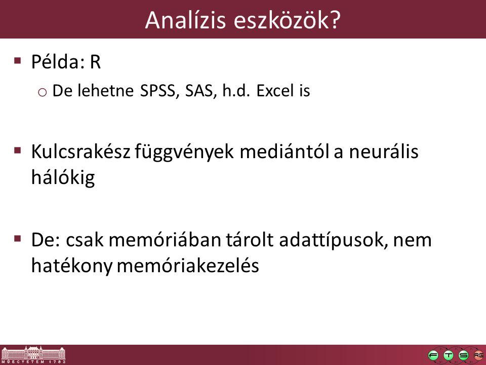 Analízis eszközök. Példa: R o De lehetne SPSS, SAS, h.d.