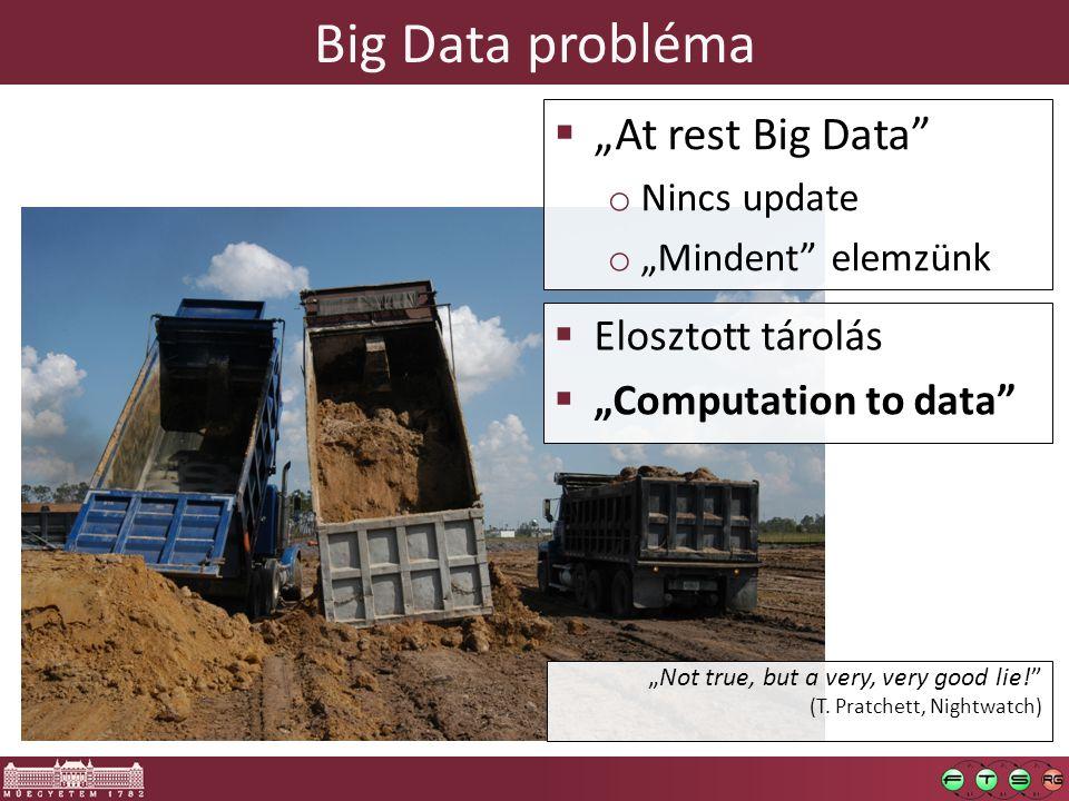 """Big Data probléma  Elosztott tárolás  """"Computation to data  """"At rest Big Data o Nincs update o """"Mindent elemzünk """"Not true, but a very, very good lie! (T."""