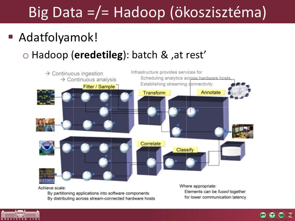 Big Data =/= Hadoop (ökoszisztéma)  Adatfolyamok! o Hadoop (eredetileg): batch & 'at rest'