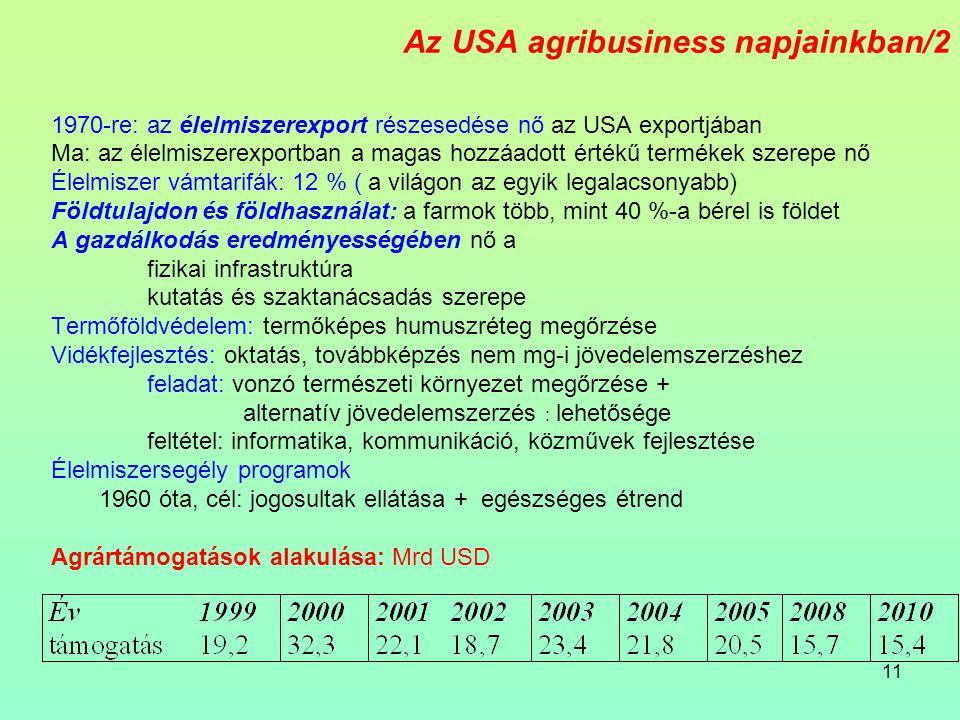 11 Az USA agribusiness napjainkban/2 1970-re: az élelmiszerexport részesedése nő az USA exportjában Ma: az élelmiszerexportban a magas hozzáadott értékű termékek szerepe nő Élelmiszer vámtarifák: 12 % ( a világon az egyik legalacsonyabb) Földtulajdon és földhasználat: a farmok több, mint 40 %-a bérel is földet A gazdálkodás eredményességében nő a fizikai infrastruktúra kutatás és szaktanácsadás szerepe Termőföldvédelem: termőképes humuszréteg megőrzése Vidékfejlesztés: oktatás, továbbképzés nem mg-i jövedelemszerzéshez feladat: vonzó természeti környezet megőrzése + alternatív jövedelemszerzés : lehetősége feltétel: informatika, kommunikáció, közművek fejlesztése Élelmiszersegély programok 1960 óta, cél: jogosultak ellátása + egészséges étrend Agrártámogatások alakulása: Mrd USD