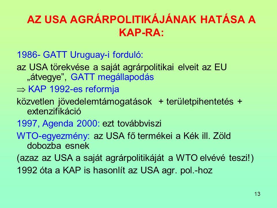 """13 AZ USA AGRÁRPOLITIKÁJÁNAK HATÁSA A KAP-RA: 1986- GATT Uruguay-i forduló: az USA törekvése a saját agrárpolitikai elveit az EU """"átvegye , GATT megállapodás  KAP 1992-es reformja közvetlen jövedelemtámogatások + területpihentetés + extenzifikáció 1997, Agenda 2000: ezt továbbviszi WTO-egyezmény: az USA fő termékei a Kék ill."""