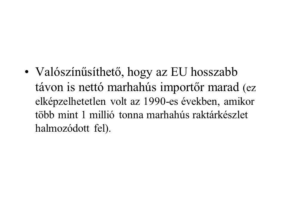 Valószínűsíthető, hogy az EU hosszabb távon is nettó marhahús importőr marad (ez elképzelhetetlen volt az 1990-es években, amikor több mint 1 millió t