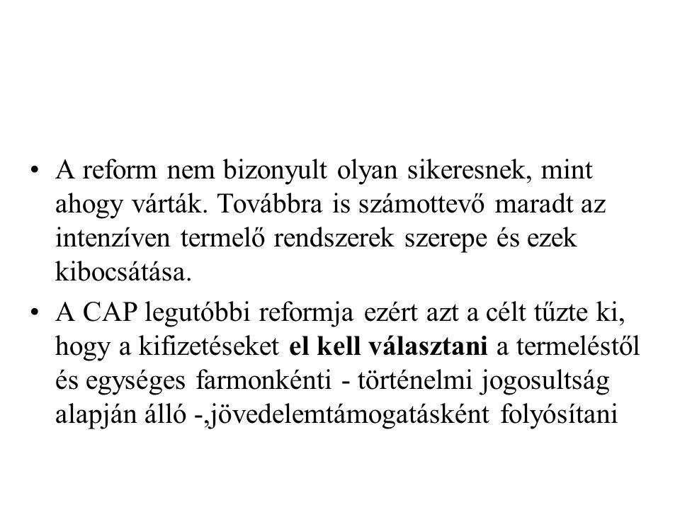 A reform nem bizonyult olyan sikeresnek, mint ahogy várták. Továbbra is számottevő maradt az intenzíven termelő rendszerek szerepe és ezek kibocsátása