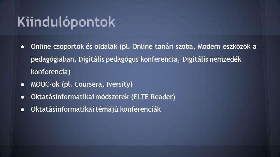 Kiindulópontok ● Online csoportok és oldalak (pl.