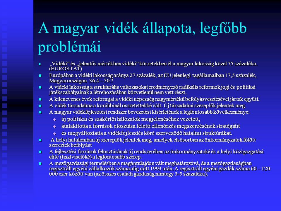 """A magyar vidék állapota, legfőbb problémái """" Vidéki"""" és """"jelentős mértékben vidéki"""" körzetekben él a magyar lakosság közel 75 százaléka. (EUROSTAT) """""""