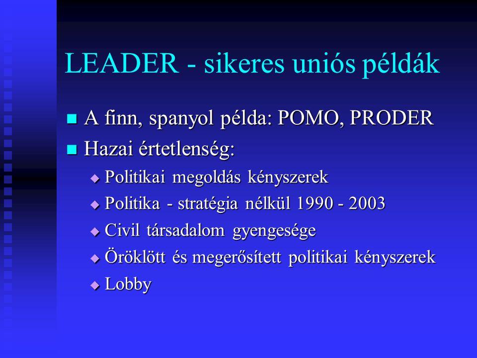 LEADER - sikeres uniós példák A finn, spanyol példa: POMO, PRODER A finn, spanyol példa: POMO, PRODER Hazai értetlenség: Hazai értetlenség:  Politika