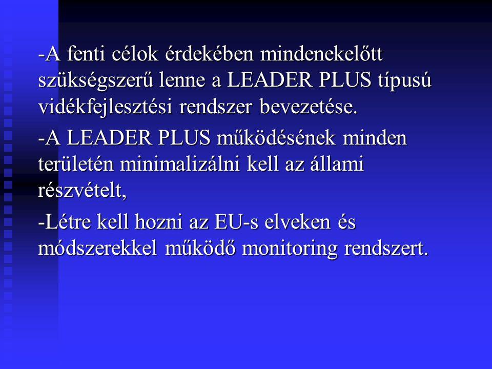-A fenti célok érdekében mindenekelőtt szükségszerű lenne a LEADER PLUS típusú vidékfejlesztési rendszer bevezetése. -A LEADER PLUS működésének minden