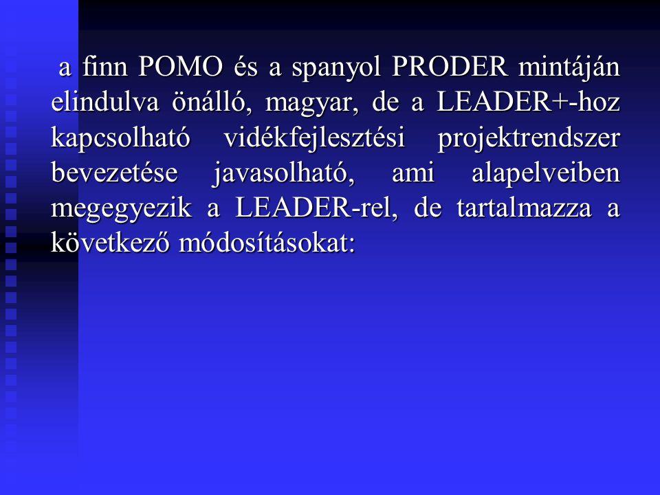 a finn POMO és a spanyol PRODER mintáján elindulva önálló, magyar, de a LEADER+-hoz kapcsolható vidékfejlesztési projektrendszer bevezetése javasolhat