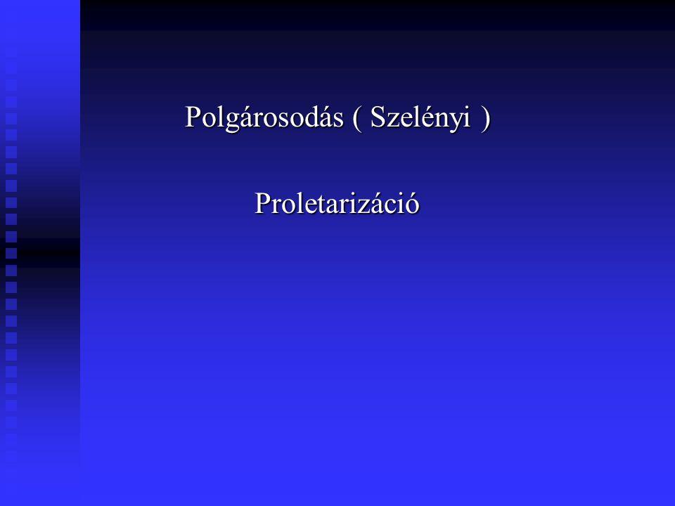 Polgárosodás ( Szelényi ) Proletarizáció