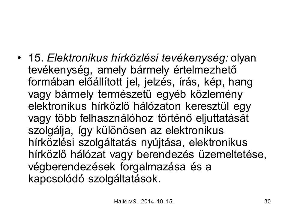 Halterv 9. 2014. 10. 15.30 15. Elektronikus hírközlési tevékenység: olyan tevékenység, amely bármely értelmezhető formában előállított jel, jelzés, ír