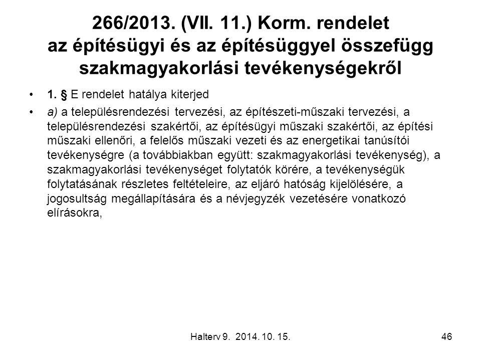 266/2013. (VII. 11.) Korm. rendelet az építésügyi és az építésüggyel összefügg szakmagyakorlási tevékenységekről 1. § E rendelet hatálya kiterjed a) a