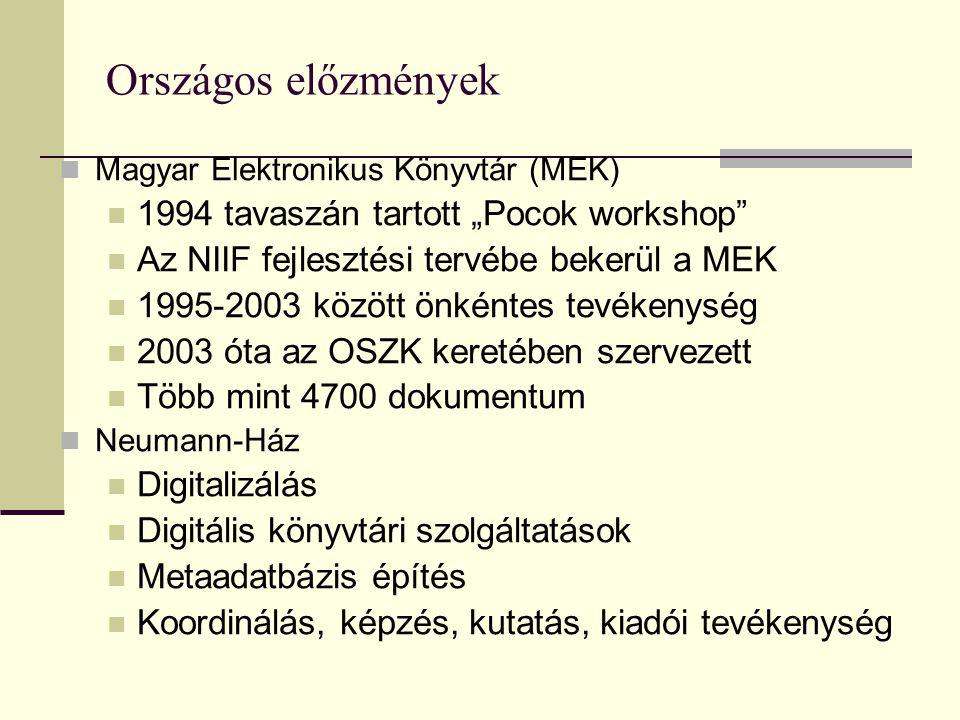"""Országos előzmények Magyar Elektronikus Könyvtár (MEK) 1994 tavaszán tartott """"Pocok workshop Az NIIF fejlesztési tervébe bekerül a MEK 1995-2003 között önkéntes tevékenység 2003 óta az OSZK keretében szervezett Több mint 4700 dokumentum Neumann-Ház Digitalizálás Digitális könyvtári szolgáltatások Metaadatbázis építés Koordinálás, képzés, kutatás, kiadói tevékenység"""