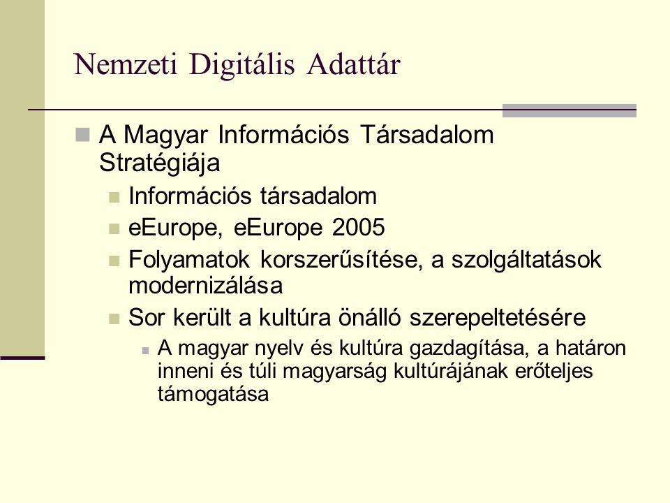 Nemzeti Digitális Adattár A Magyar Információs Társadalom Stratégiája Információs társadalom eEurope, eEurope 2005 Folyamatok korszerűsítése, a szolgáltatások modernizálása Sor került a kultúra önálló szerepeltetésére A magyar nyelv és kultúra gazdagítása, a határon inneni és túli magyarság kultúrájának erőteljes támogatása