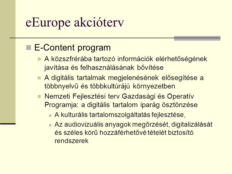 eEurope akcióterv E-Content program A közszfrérába tartozó információk elérhetőségének javítása és felhasználásának bővítése A digitális tartalmak megjelenésének elősegítése a többnyelvű és többkultúrájú környezetben Nemzeti Fejlesztési terv Gazdasági és Operatív Programja: a digitális tartalom iparág ösztönzése A kulturális tartalomszolgáltatás fejlesztése, Az audiovizuális anyagok megőrzését, digitalizálását és széles körű hozzáférhetővé tételét biztosító rendszerek