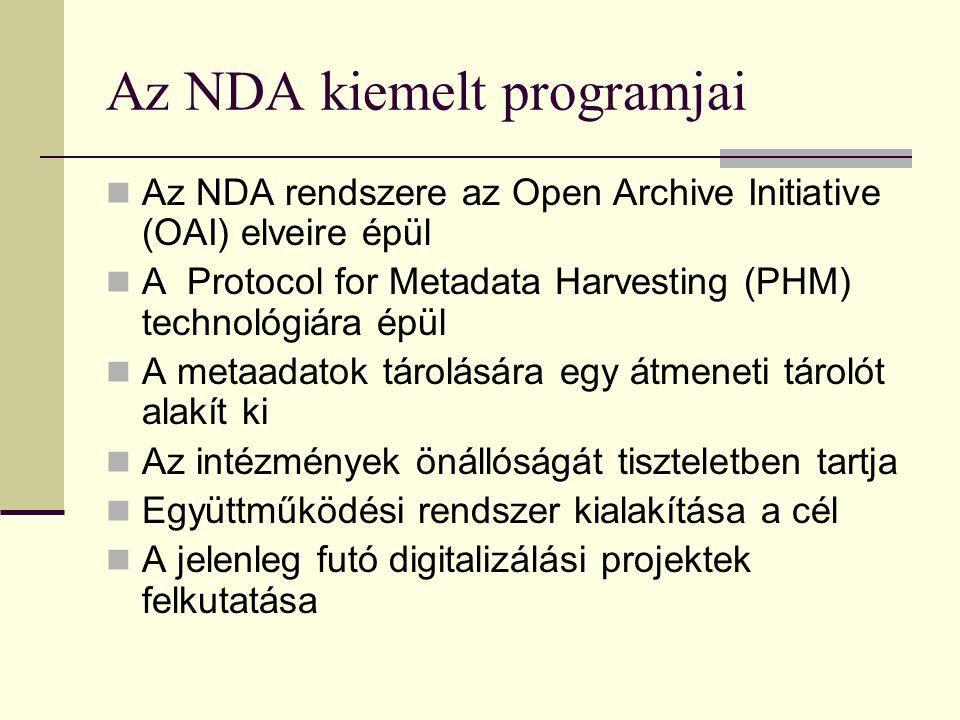Az NDA kiemelt programjai Az NDA rendszere az Open Archive Initiative (OAI) elveire épül A Protocol for Metadata Harvesting (PHM) technológiára épül A metaadatok tárolására egy átmeneti tárolót alakít ki Az intézmények önállóságát tiszteletben tartja Együttműködési rendszer kialakítása a cél A jelenleg futó digitalizálási projektek felkutatása