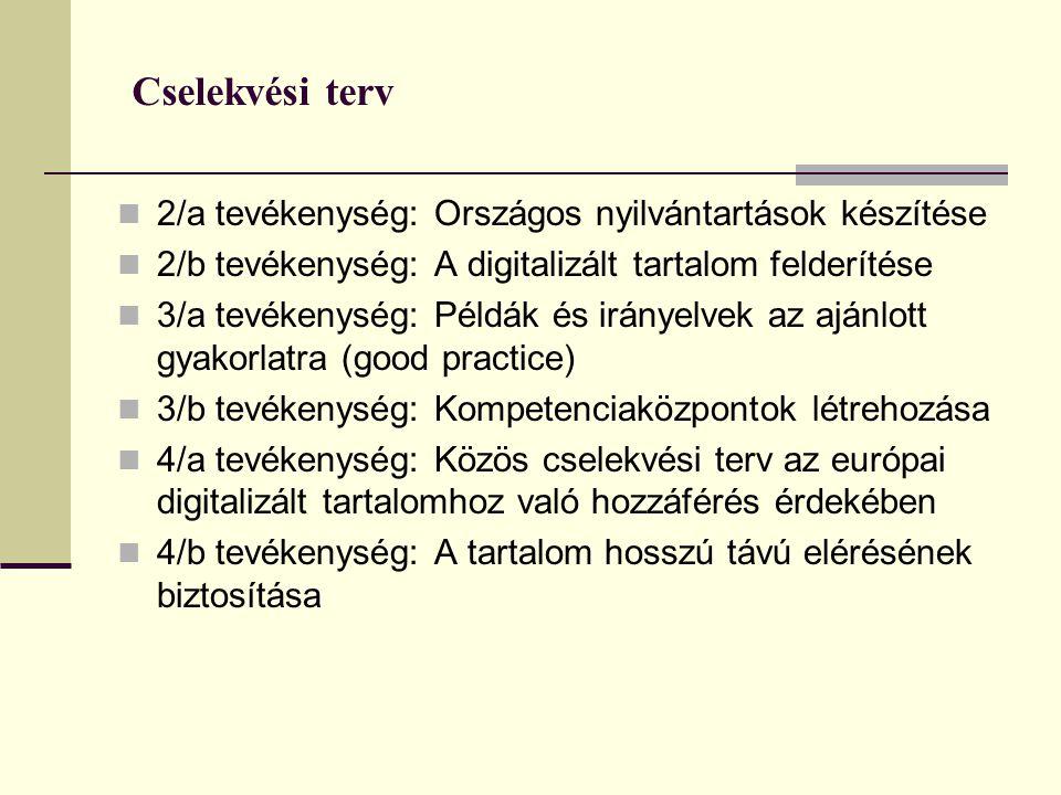 Cselekvési terv 2/a tevékenység: Országos nyilvántartások készítése 2/b tevékenység: A digitalizált tartalom felderítése 3/a tevékenység: Példák és irányelvek az ajánlott gyakorlatra (good practice) 3/b tevékenység: Kompetenciaközpontok létrehozása 4/a tevékenység: Közös cselekvési terv az európai digitalizált tartalomhoz való hozzáférés érdekében 4/b tevékenység: A tartalom hosszú távú elérésének biztosítása