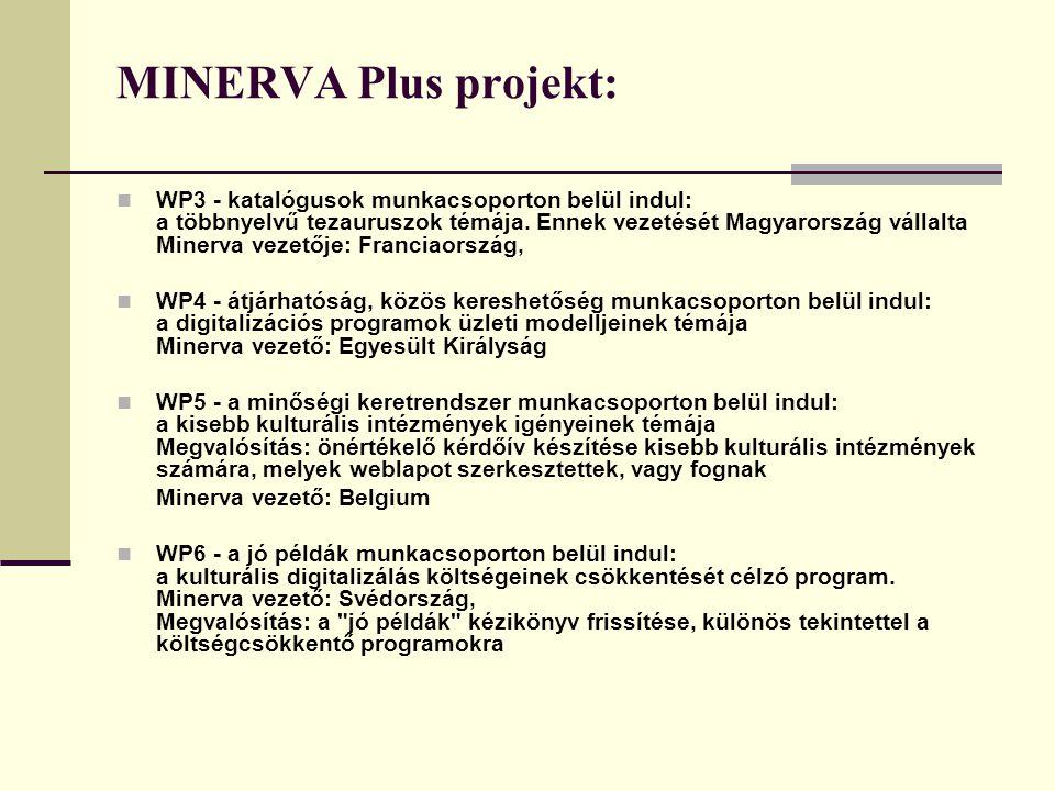 MINERVA Plus projekt: WP3 - katalógusok munkacsoporton belül indul: a többnyelvű tezauruszok témája.
