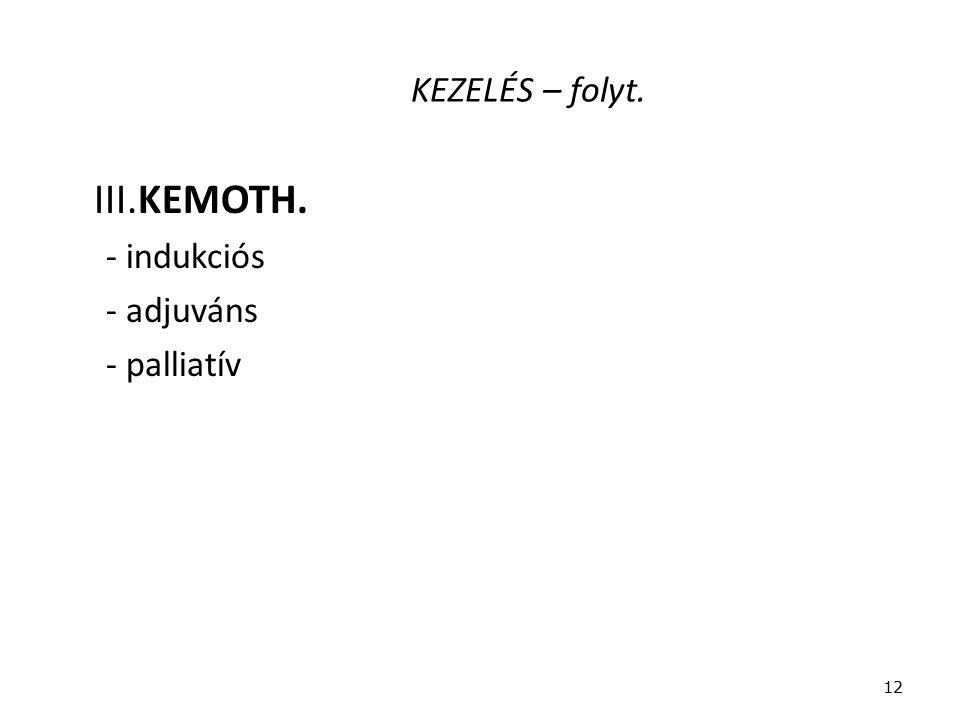KEZELÉS – folyt. III.KEMOTH. - indukciós - adjuváns - palliatív 12