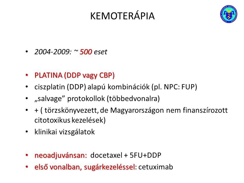 """KEMOTERÁPIA 500 2004-2009: ~ 500 eset PLATINA (DDP vagy CBP) PLATINA (DDP vagy CBP) ciszplatin (DDP) alapú kombinációk (pl. NPC: FUP) """"salvage"""" protok"""