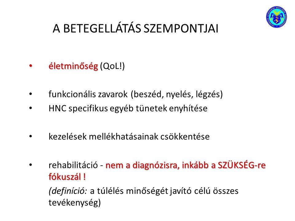 A BETEGELLÁTÁS SZEMPONTJAI életminőség életminőség (QoL!) funkcionális zavarok (beszéd, nyelés, légzés) HNC specifikus egyéb tünetek enyhítése kezelés
