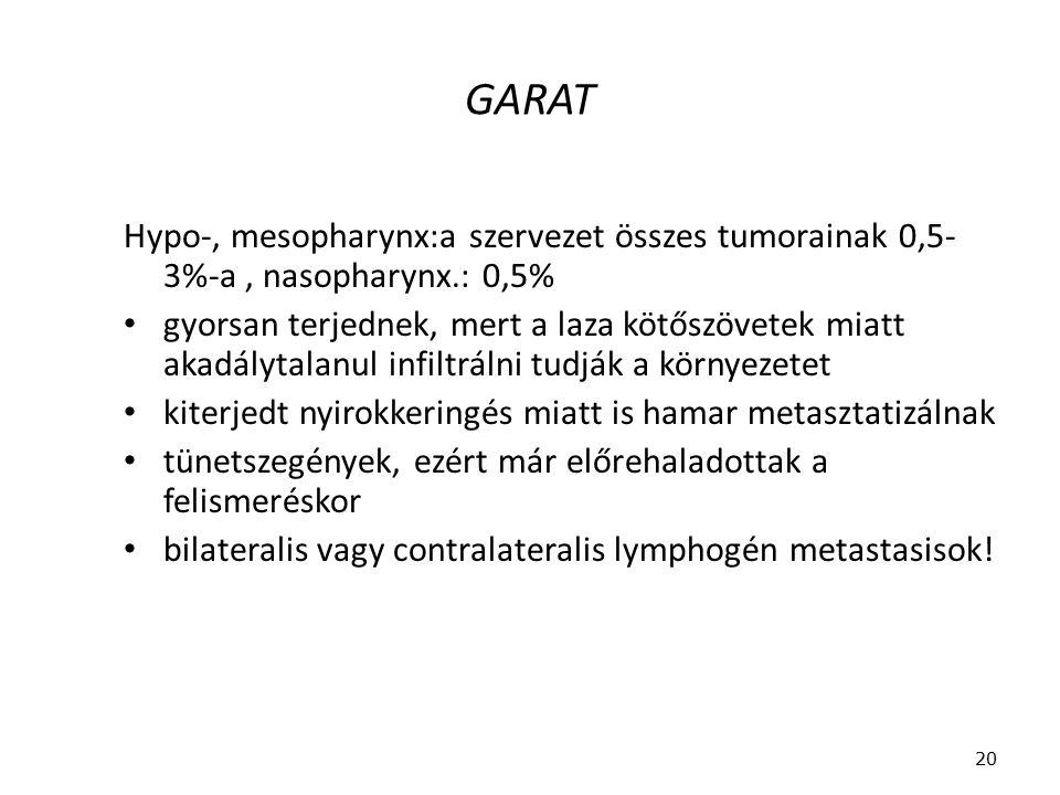 GARAT Hypo-, mesopharynx:a szervezet összes tumorainak 0,5- 3%-a, nasopharynx.: 0,5% gyorsan terjednek, mert a laza kötőszövetek miatt akadálytalanul