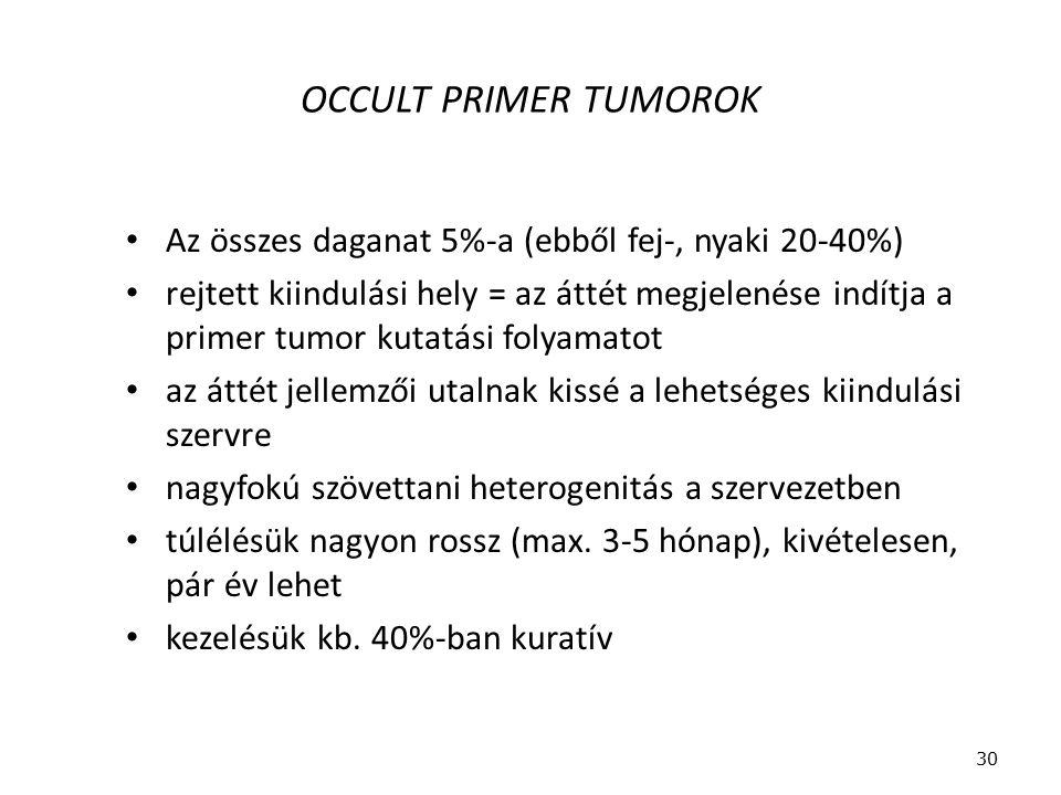 OCCULT PRIMER TUMOROK Az összes daganat 5%-a (ebből fej-, nyaki 20-40%) rejtett kiindulási hely = az áttét megjelenése indítja a primer tumor kutatási