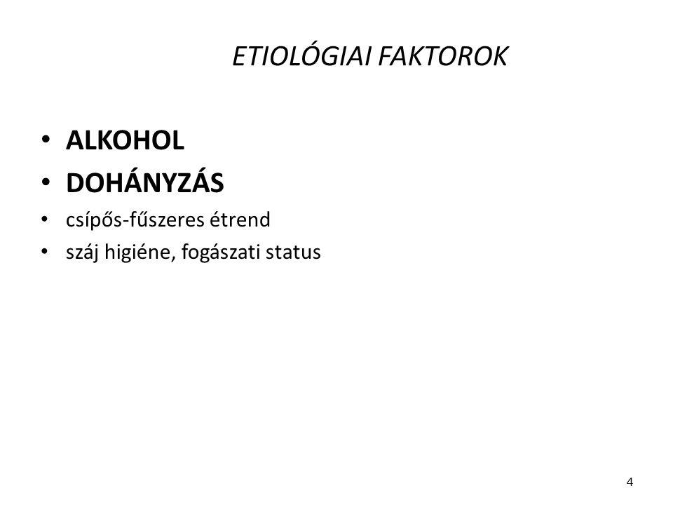 ETIOLÓGIAI FAKTOROK ALKOHOL DOHÁNYZÁS csípős-fűszeres étrend száj higiéne, fogászati status 4
