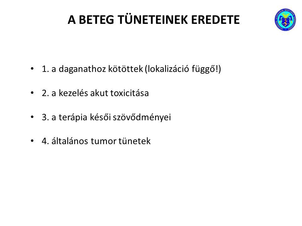 A BETEG TÜNETEINEK EREDETE 1. a daganathoz kötöttek (lokalizáció függő!) 2. a kezelés akut toxicitása 3. a terápia késői szövődményei 4. általános tum