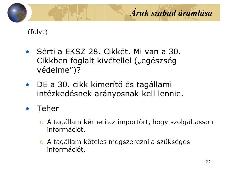 27 Áruk szabad áramlása (folyt) Sérti a EKSZ 28.Cikkét.