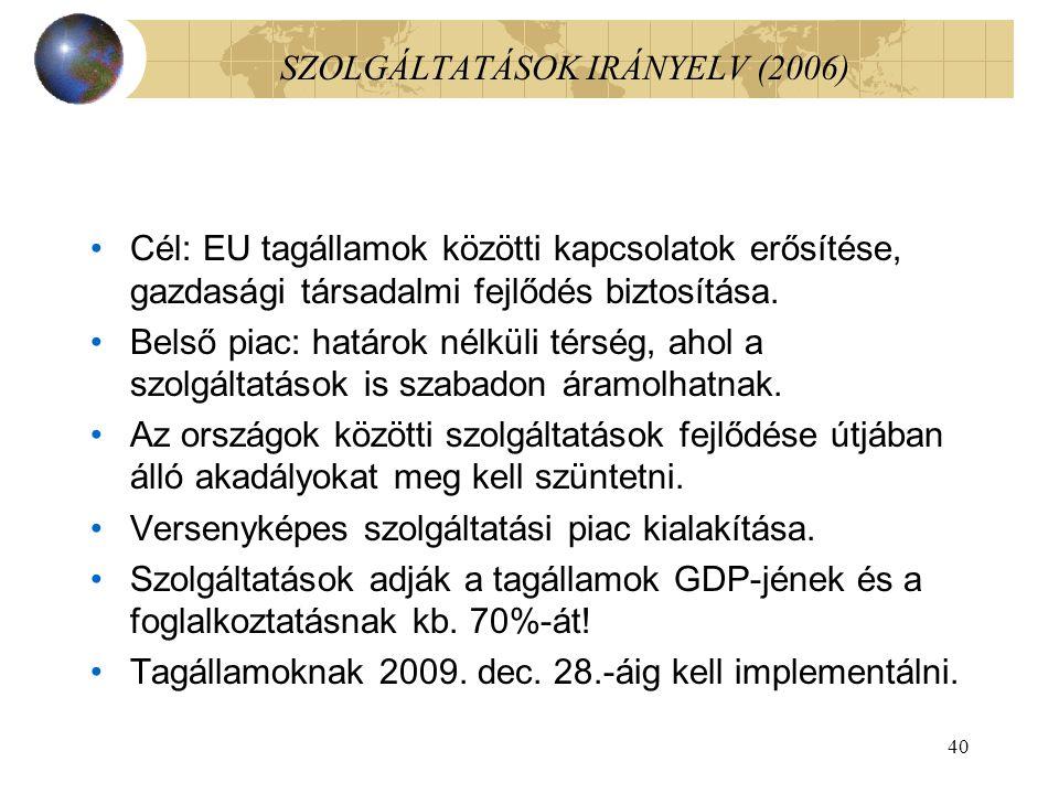 40 SZOLGÁLTATÁSOK IRÁNYELV (2006) Cél: EU tagállamok közötti kapcsolatok erősítése, gazdasági társadalmi fejlődés biztosítása.