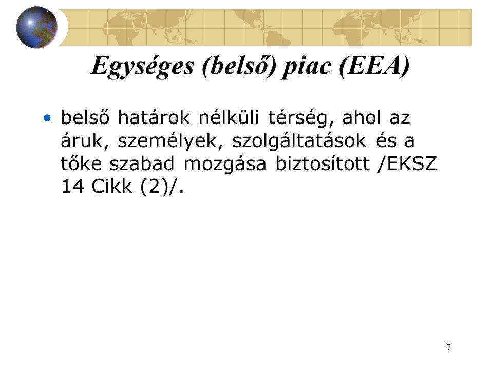 7 Egységes (belső) piac (EEA) belső határok nélküli térség, ahol az áruk, személyek, szolgáltatások és a tőke szabad mozgása biztosított /EKSZ 14 Cikk (2)/.