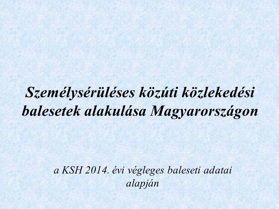Személysérüléses közúti közlekedési balesetek alakulása Magyarországon a KSH 2014. évi végleges baleseti adatai alapján