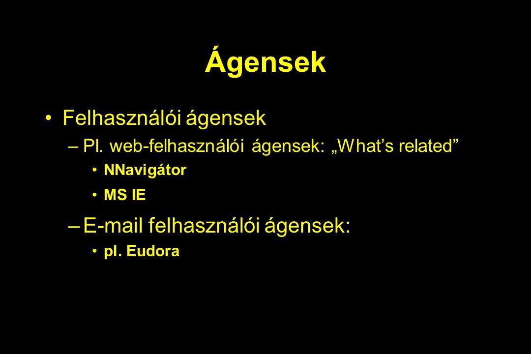 """Ágensek Felhasználói ágensek –Pl. web-felhasználói ágensek: """"What's related"""" NNavigátor MS IE –E-mail felhasználói ágensek: pl. Eudora"""