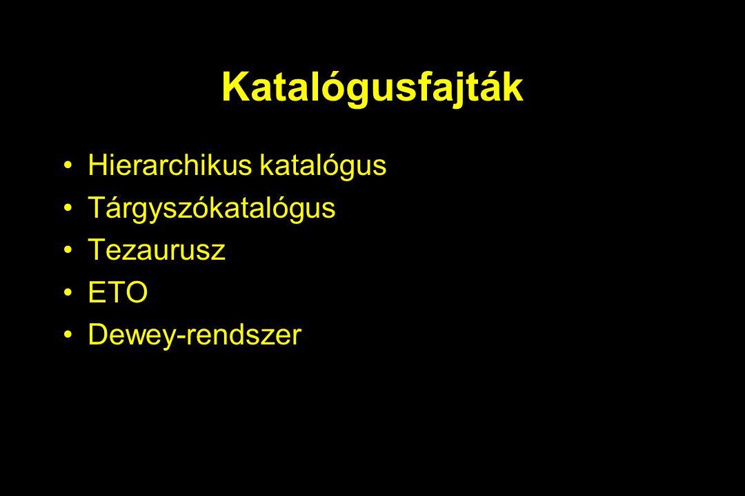 Katalógusfajták Hierarchikus katalógus Tárgyszókatalógus Tezaurusz ETO Dewey-rendszer