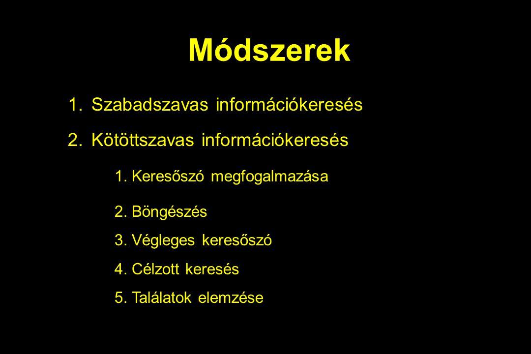 Módszerek 1.Szabadszavas információkeresés 2.Kötöttszavas információkeresés 1. Keresőszó megfogalmazása 2. Böngészés 3. Végleges keresőszó 4. Célzott
