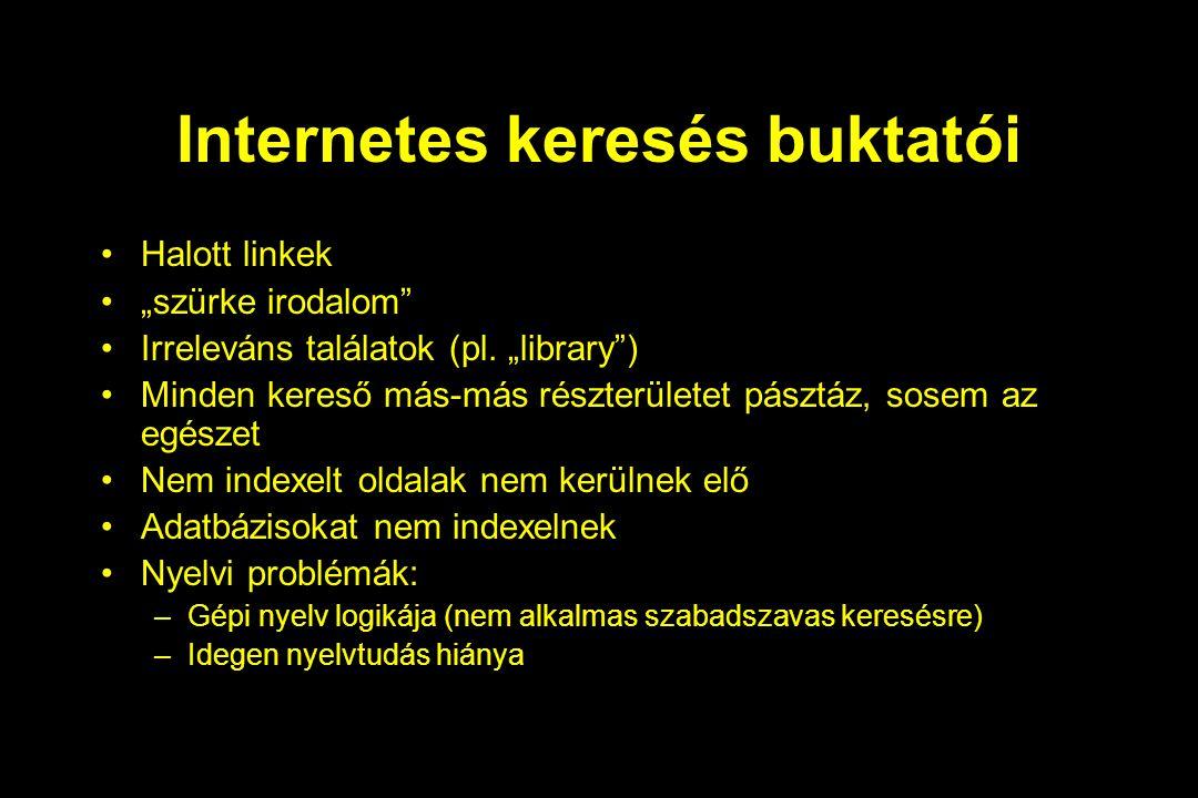 """Internetes keresés buktatói Halott linkek """"szürke irodalom"""" Irreleváns találatok (pl. """"library"""") Minden kereső más-más részterületet pásztáz, sosem az"""