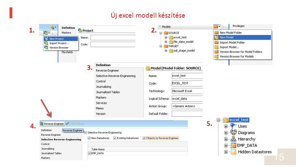 15 1.2. 3. 4. 5. Új excel modell készítése