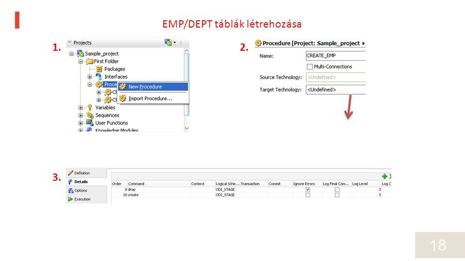 18 1.2. 3. EMP/DEPT táblák létrehozása