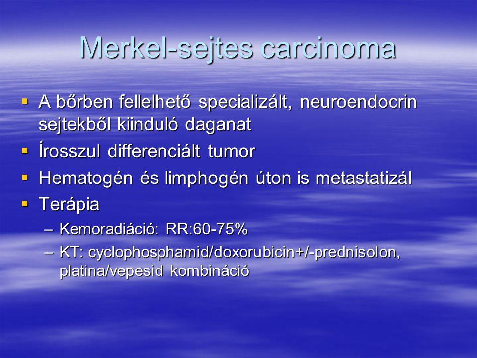 Merkel-sejtes carcinoma  A bőrben fellelhető specializált, neuroendocrin sejtekből kiinduló daganat  Írosszul differenciált tumor  Hematogén és limphogén úton is metastatizál  Terápia –Kemoradiáció: RR:60-75% –KT: cyclophosphamid/doxorubicin+/-prednisolon, platina/vepesid kombináció