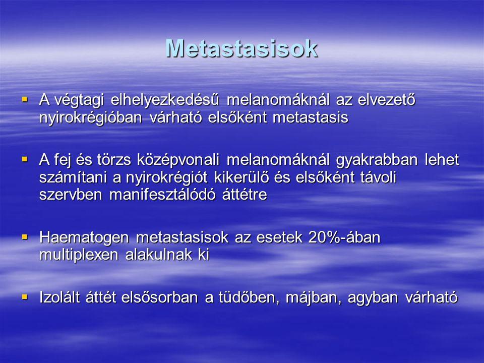 Metastasisok  A végtagi elhelyezkedésű melanomáknál az elvezető nyirokrégióban várható elsőként metastasis  A fej és törzs középvonali melanomáknál